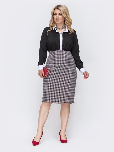 Чёрный комплект большого размера из блузки и юбки с принтом 50007, фото 1