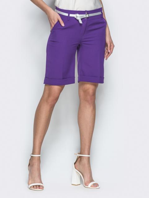 Фиолетовые шорты из костюмной ткани со шлевками - 38142, фото 1 – интернет-магазин Dressa
