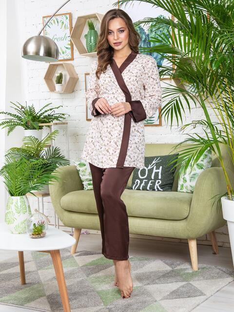 Коричневая пижама с принтованной рубашкой на запах - 20395, фото 1 – интернет-магазин Dressa