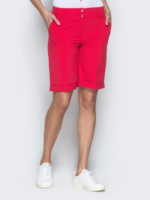Красные шорты из костюмной ткани в стиле casual - 38144, фото 1 – интернет-магазин Dressa