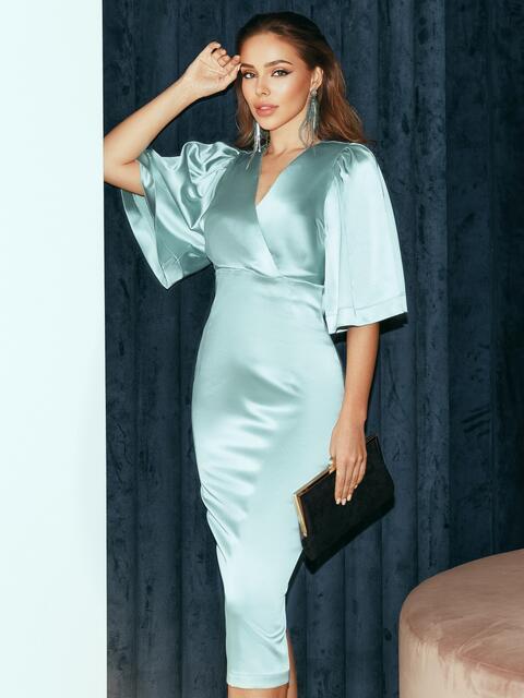 Мятное платье-футляр из атласа с расклешенными рукавами 51788, фото 1