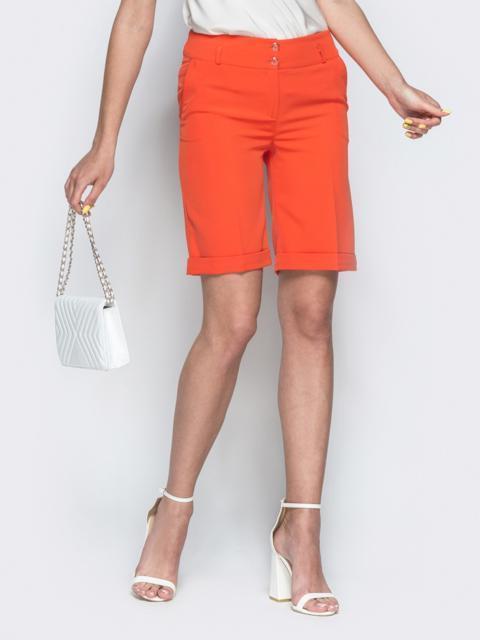 Оранжевые шорты из костюмной ткани со шлевками - 38141, фото 1 – интернет-магазин Dressa
