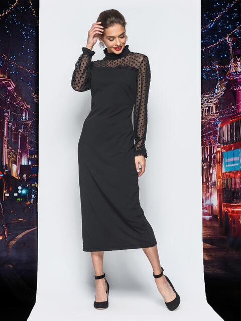 Платье черного цвета с кокеткой из фактурного фатина - 17944, фото 1 – интернет-магазин Dressa
