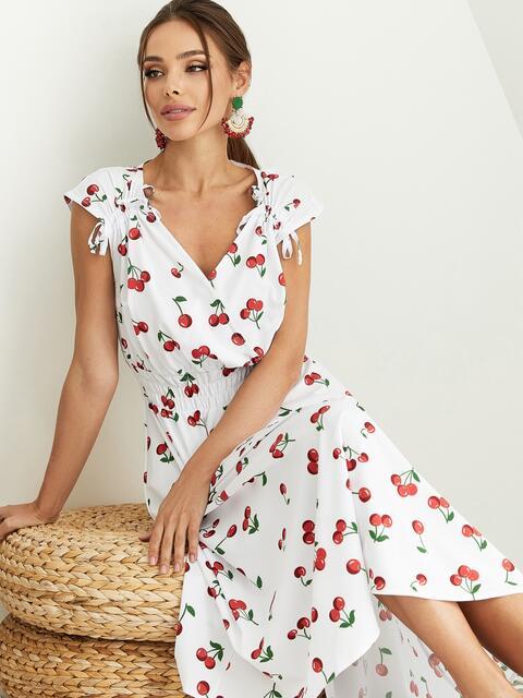 Платье с принтом и фигурным вырезом белое 54143, фото 1