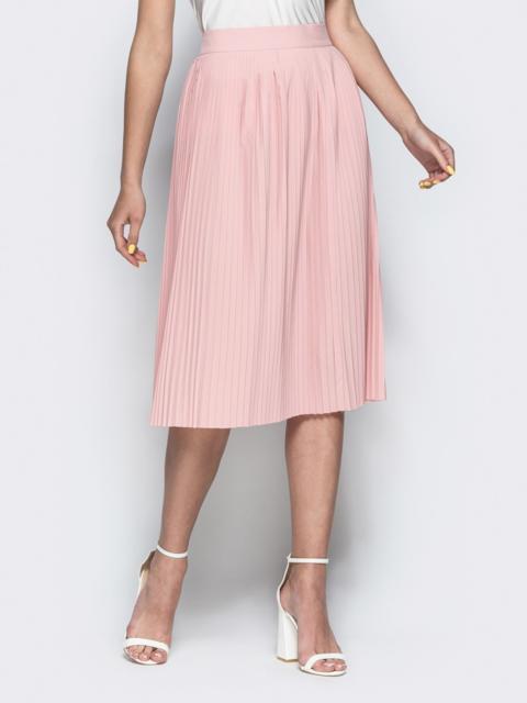 Плиссированная юбка-миди пудрового цвета - 38424, фото 1 – интернет-магазин Dressa