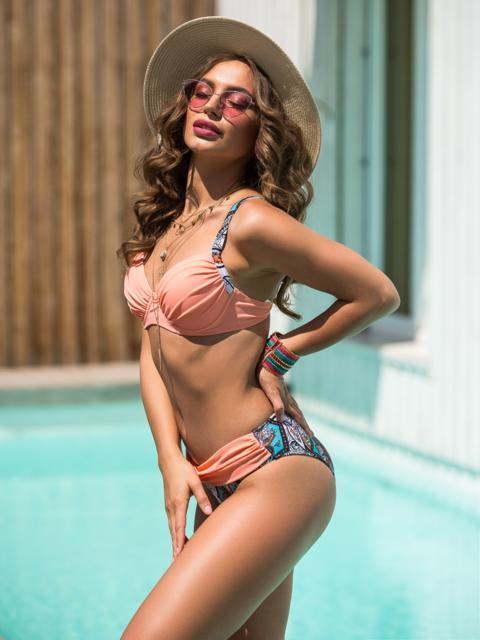 Принтованный купальник с драпировкой на лифе - 39162, фото 1 – интернет-магазин Dressa