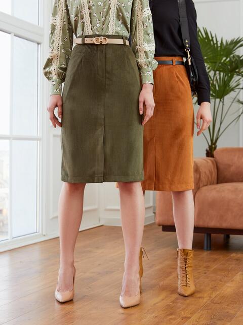 Прямая юбка из вельвета с разрезом спереди хаки 53503, фото 1