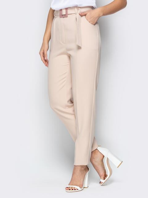 Прямые брюки с завышеной талией и карманами бежевые - 20585, фото 1 – интернет-магазин Dressa