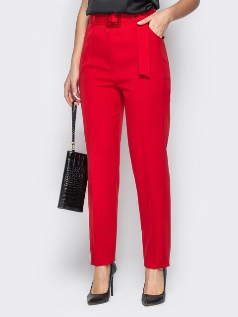 Прямые брюки с завышеной талией и карманами красные - 20586, фото 1 – интернет-магазин Dressa