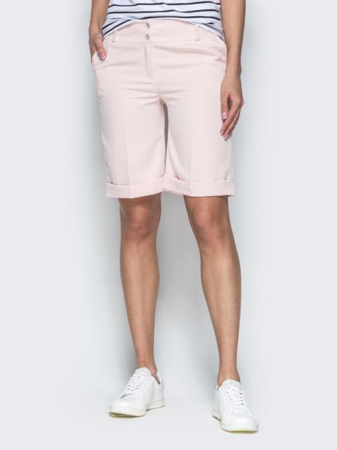 Пудровые шорты из костюмной ткани в стиле casual - 38143, фото 1 – интернет-магазин Dressa