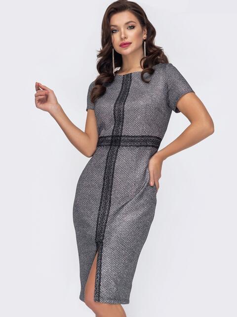 Серое платье-футляр из люрекса с разрезом спереди 51780, фото 1