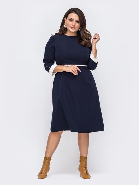 Тёмно-синее платье батал с расклешенной юбкой 51507, фото 1