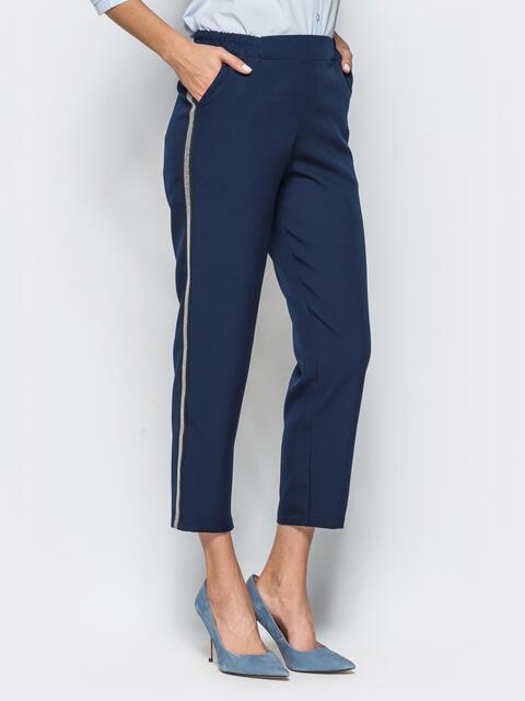 Темно-синие укороченные брюки с лампасами - 16287, фото 1 – интернет-магазин Dressa