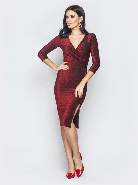 Бордовое платье с ложным запахом и разрезом сбоку - 19001, фото 1 – интернет-магазин Dressa