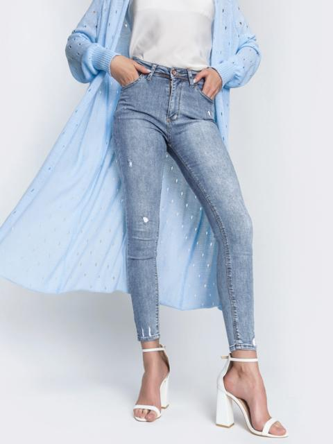 Голубые джинсы-скинни с потертостями - 48815, фото 1 – интернет-магазин Dressa