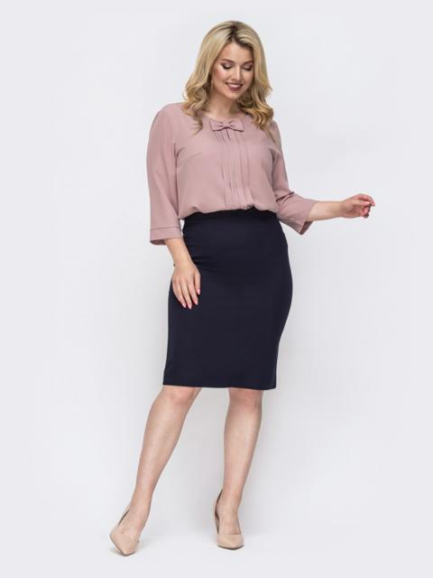 Комплект большого размера из пудровой блузки и юбки 49873, фото 1
