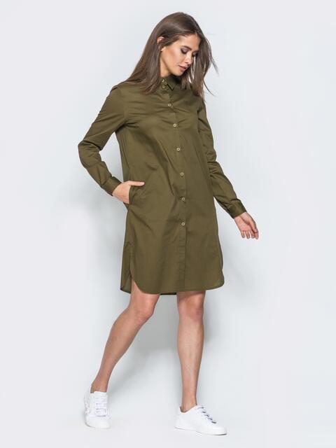 Платье-рубашка с карманами в швах - 14673, фото 1 – интернет-магазин Dressa