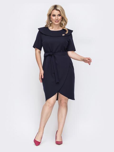 Тёмно-синее платье батал приталенного кроя 49872, фото 1