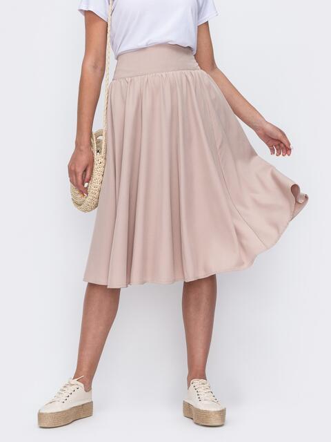 Бежевая юбка полусолнце с широким поясом 49603, фото 1
