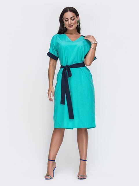 Бирюзовое платье батал с контрастными вставками и перфорацией 49734, фото 1