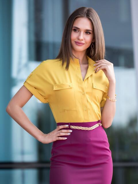 Блузка желтого цвета с накладными карманами - 40102, фото 1 – интернет-магазин Dressa