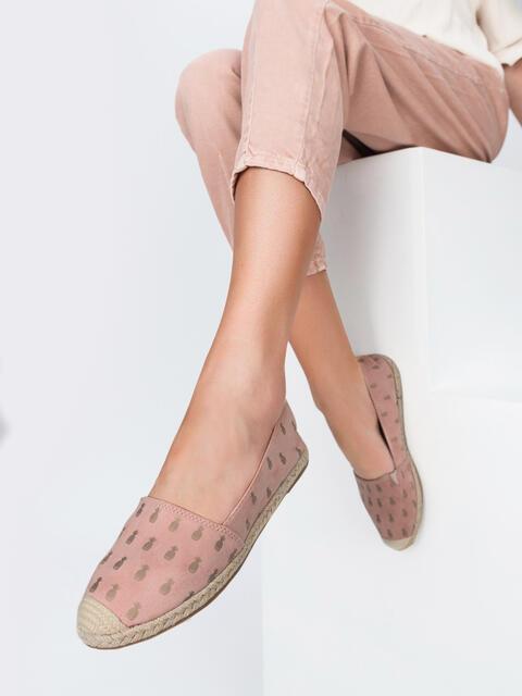 Эспадрильи пудрового цвета с принтом - 47536, фото 1 – интернет-магазин Dressa
