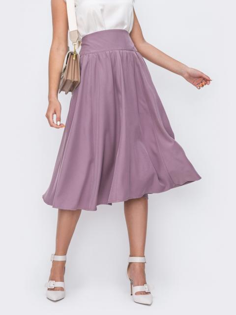 Фиолетовая юбка полусолнце с широким поясом 49604, фото 1