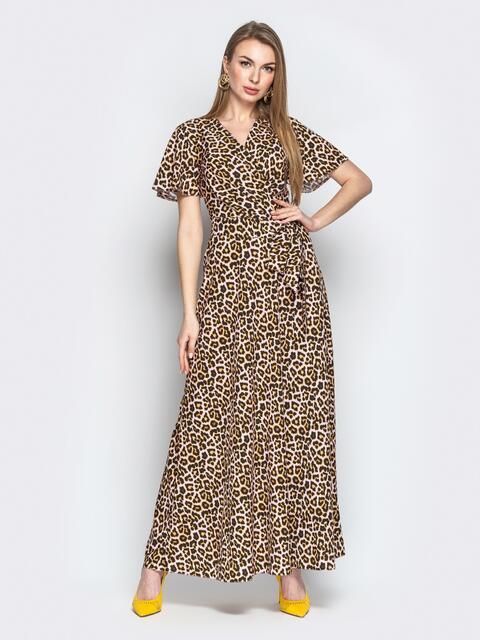 Леопардовое платье-макси из софта с запахом - 21349, фото 1 – интернет-магазин Dressa