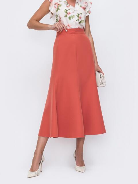 Оранжевая юбка-миди в классическом стиле из костюмной ткани 49602, фото 1