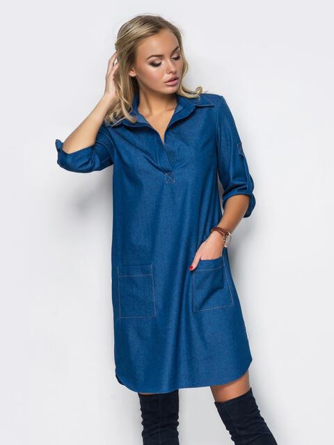 Платье из облегчённого денима синее - 11454, фото 1 – интернет-магазин Dressa