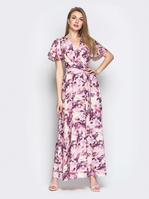 Принтованное платье-макси из софта с запахом пудровое - 21350, фото 1 – интернет-магазин Dressa