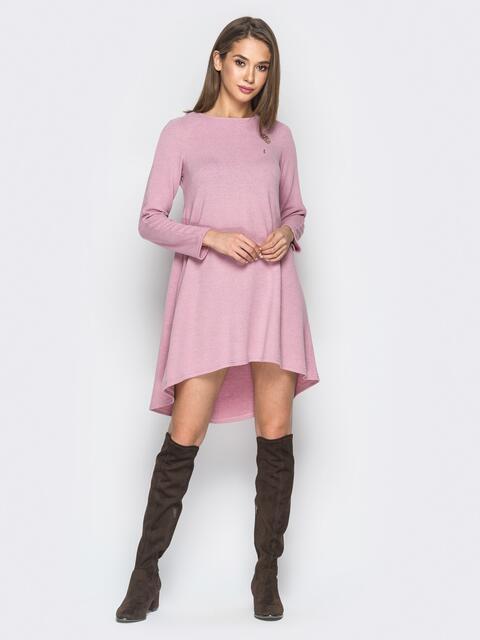 Расклешенное платье пудрового цвета со шлейфом - 18211, фото 1 – интернет-магазин Dressa