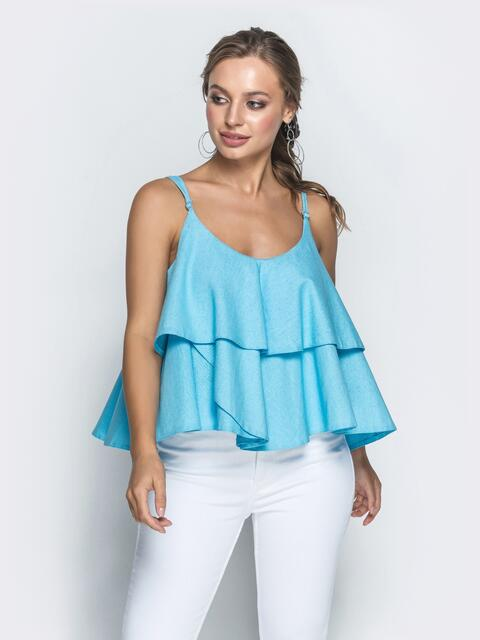 Топ голубого цвета с воланами - 39372, фото 1 – интернет-магазин Dressa