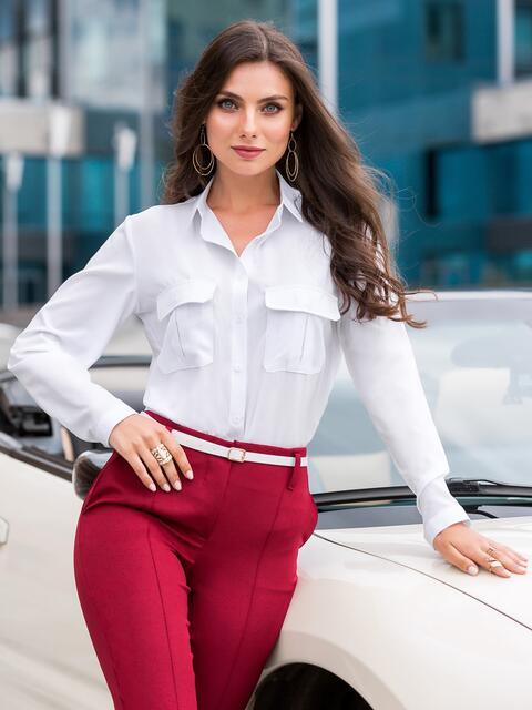 Классическая рубашка белого цвета с накладными карманами - 39805, фото 1 – интернет-магазин Dressa