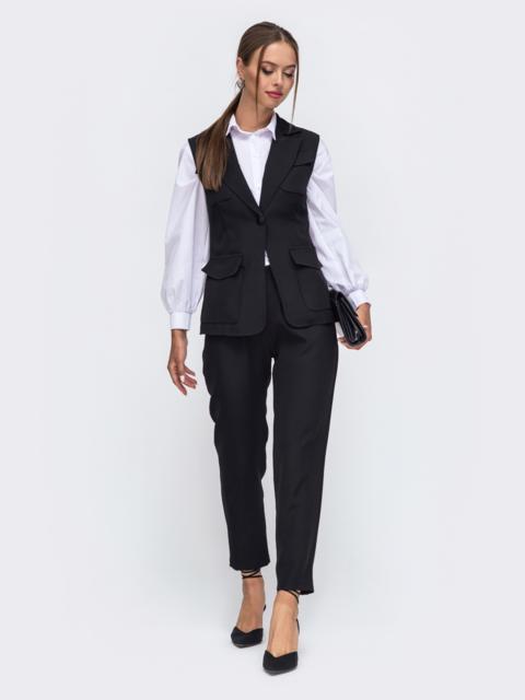 Комплект чёрного цвета из жилета с карманами и брюк 50169, фото 1