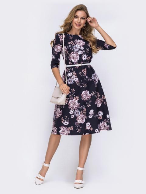 Платье-миди с цветочным принтом серое 42028, фото 1