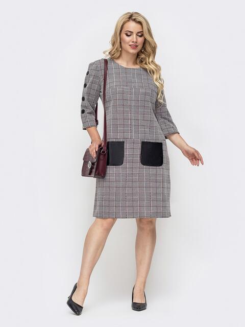 Серое платье батал в клетку с контрастными карманами 50677, фото 1