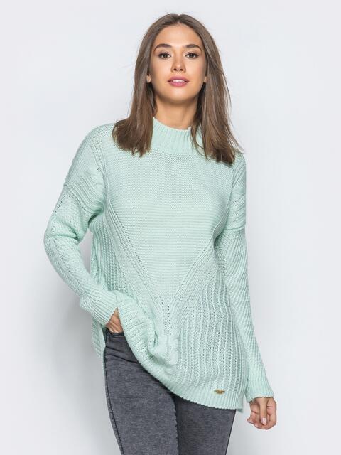Удлиненный бирюзовый свитер ажурной вязки - 17095, фото 1 – интернет-магазин Dressa