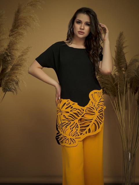 Желтый комплект батал с асимметричной блузкой 47152, фото 1