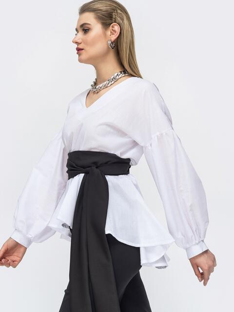 Белая блузка с удлиненной спинкой и резинкой по талии - 45692, фото 1 – интернет-магазин Dressa