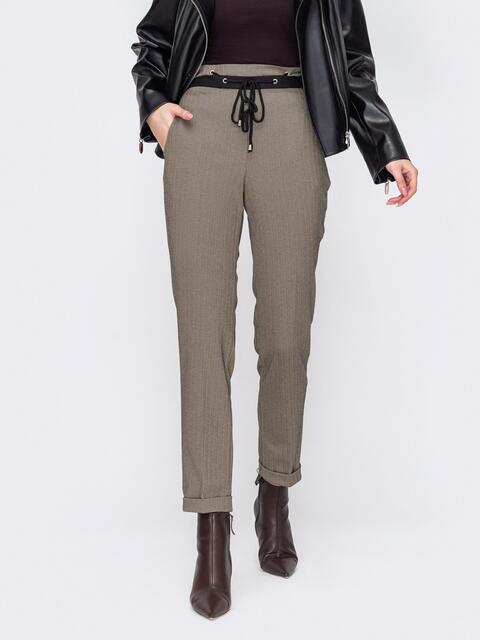 Бежевые брюки с высокой посадкой 52902, фото 1