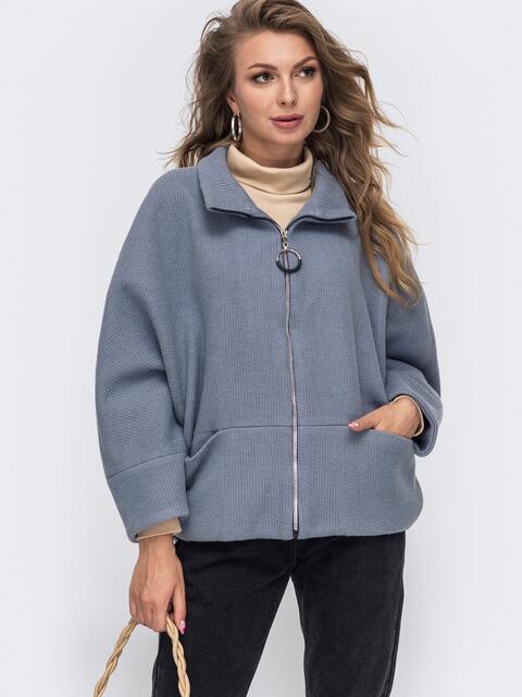 """Демисезонная куртка с рукавом """"летучая мышь"""" серая 50622, фото 1"""