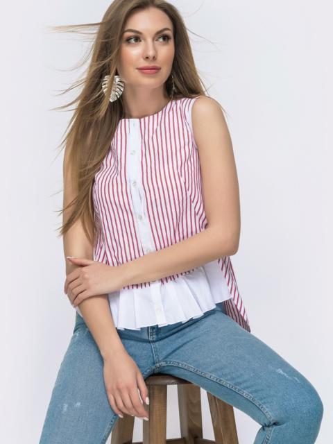 Хлопковая рубашка в полоску с удлинённой спинкой красная - 47469, фото 1 – интернет-магазин Dressa