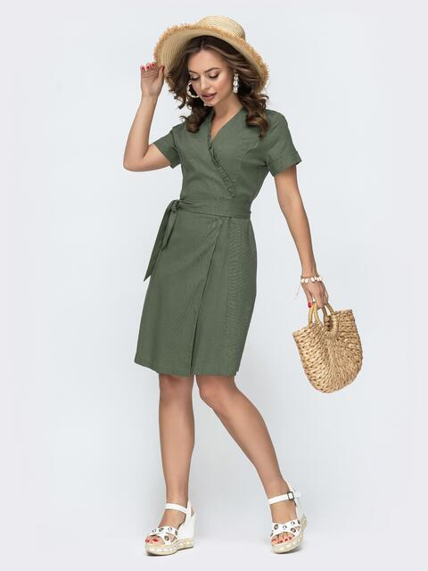 Льняное платье цвета хаки на запах с рюшей по вырезу  - 49796, фото 1 – интернет-магазин Dressa