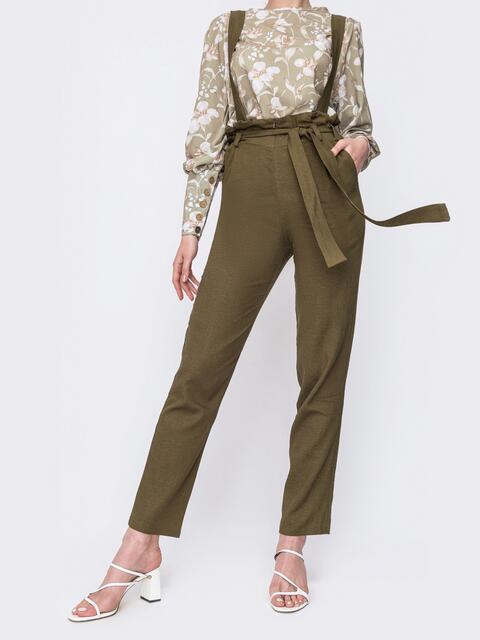 Льняные брюки с высокой посадкой хаки - 47442, фото 1 – интернет-магазин Dressa