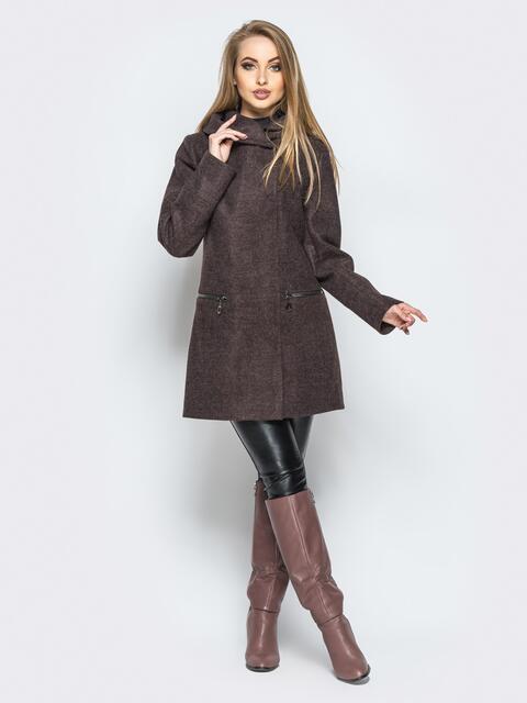 Пальто коричневого цвета на кнопках с подкладкой и капюшоном - 16577, фото 1 – интернет-магазин Dressa