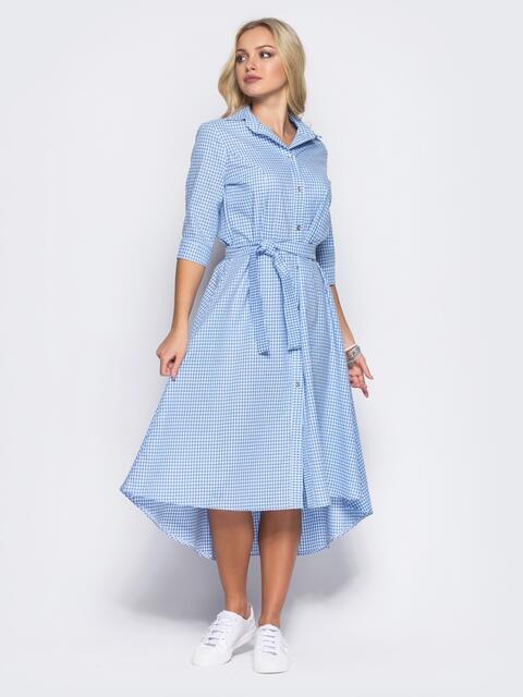 Платье в голубую клетку с функциональными пуговицами - 11423, фото 1 – интернет-магазин Dressa