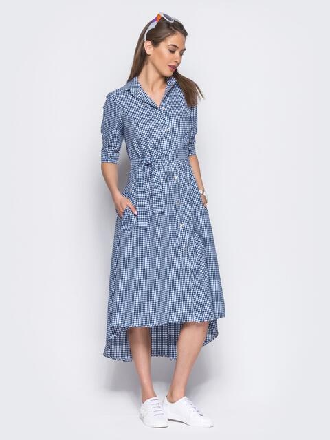 Платье в синюю клетку с функциональными пуговицами - 11422, фото 1 – интернет-магазин Dressa