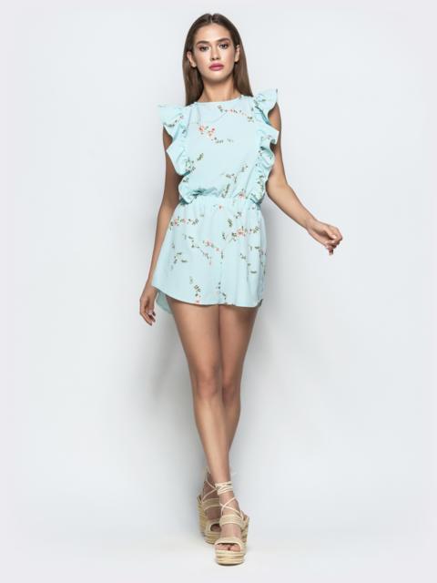 Принтованный комбинезон-шорты с рюшами по бокам голубой - 22108, фото 1 – интернет-магазин Dressa