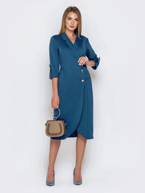 Синее платье-пиджак из джерси с карманами 40804, фото 1